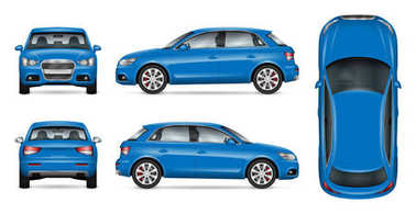 Blue SUV car vector mock up for car branding and advertising. Elements of corporate identity. All layers and groups well organized for easy editing and recolor. View from side, front, back, top. clip art vector
