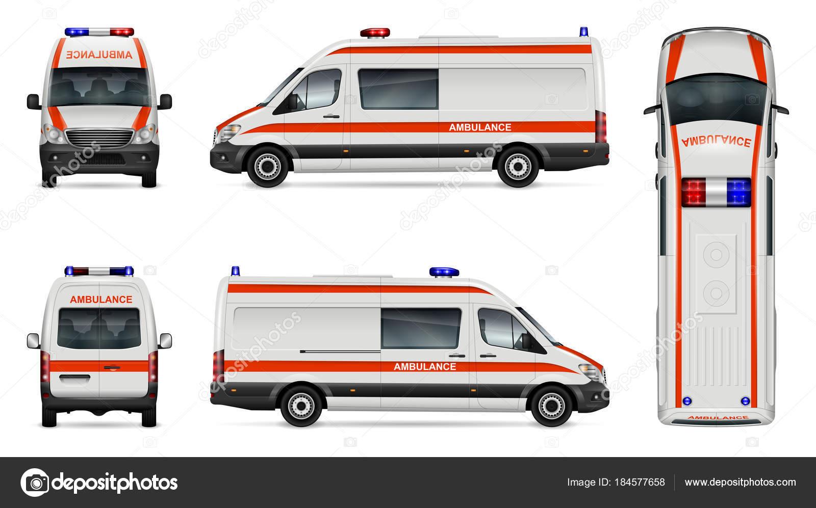 Plantilla de coche de ambulancia blanca — Vector de stock ...