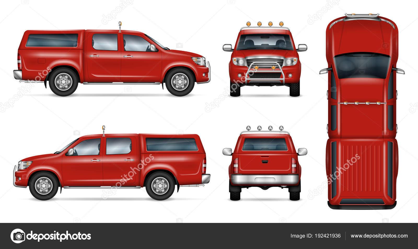 Roter Pickup Vektor Vorlage — Stockvektor © imgvector #192421936