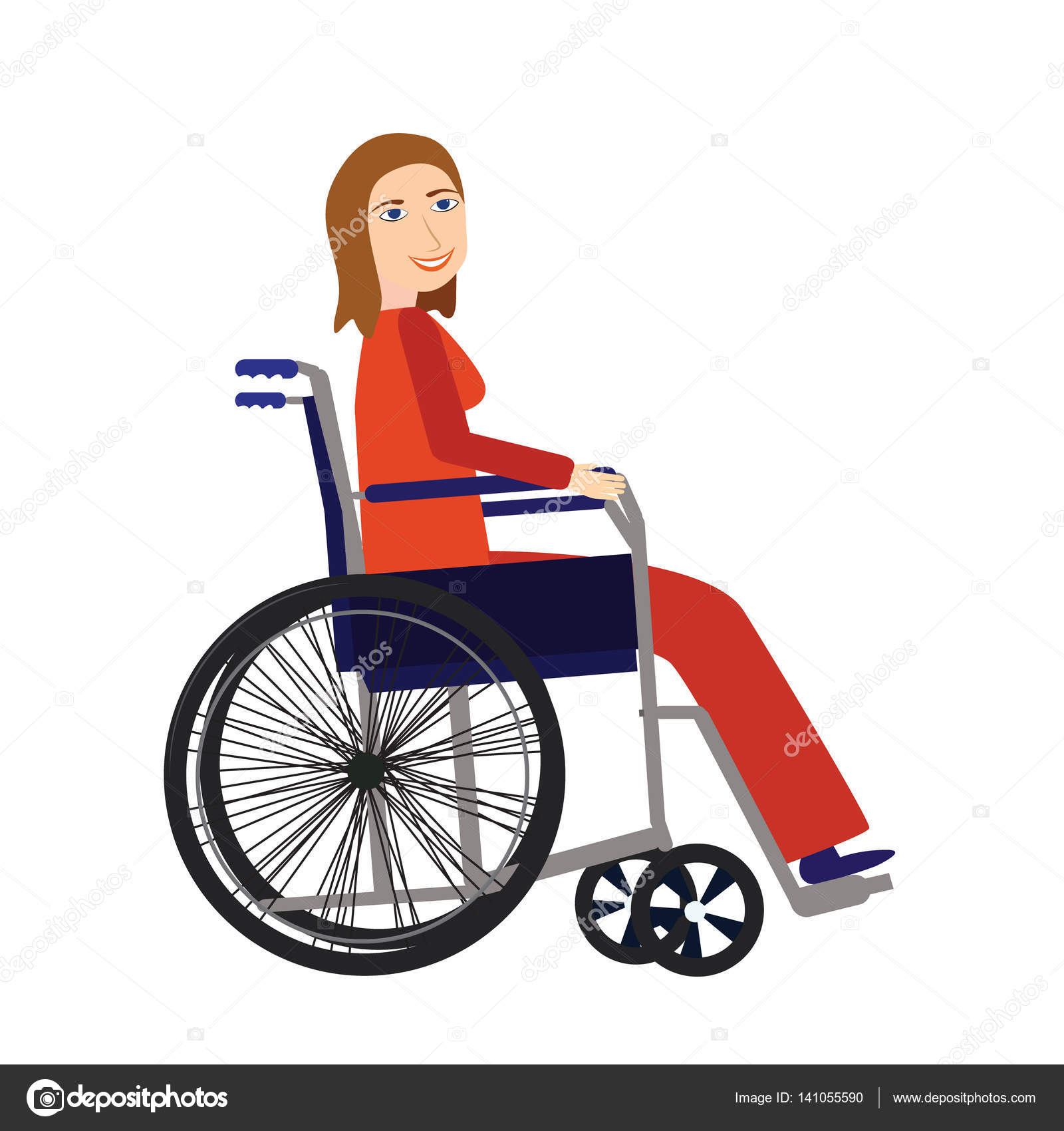 Animado dibujo de se ora en silla de ruedas concepto de persona de discapacidad deshabilitar - Tamano silla de ruedas ...