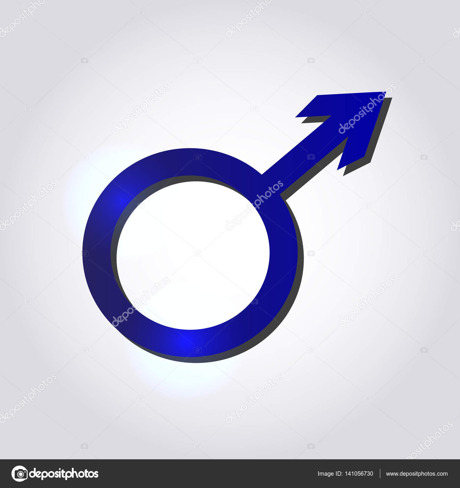 Male Symbol In Blue Colors On Grey Background Mens Concept Stock