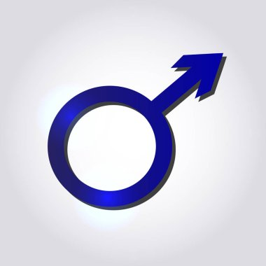 Male symbol in blue colors on grey background. Men's concept. icon