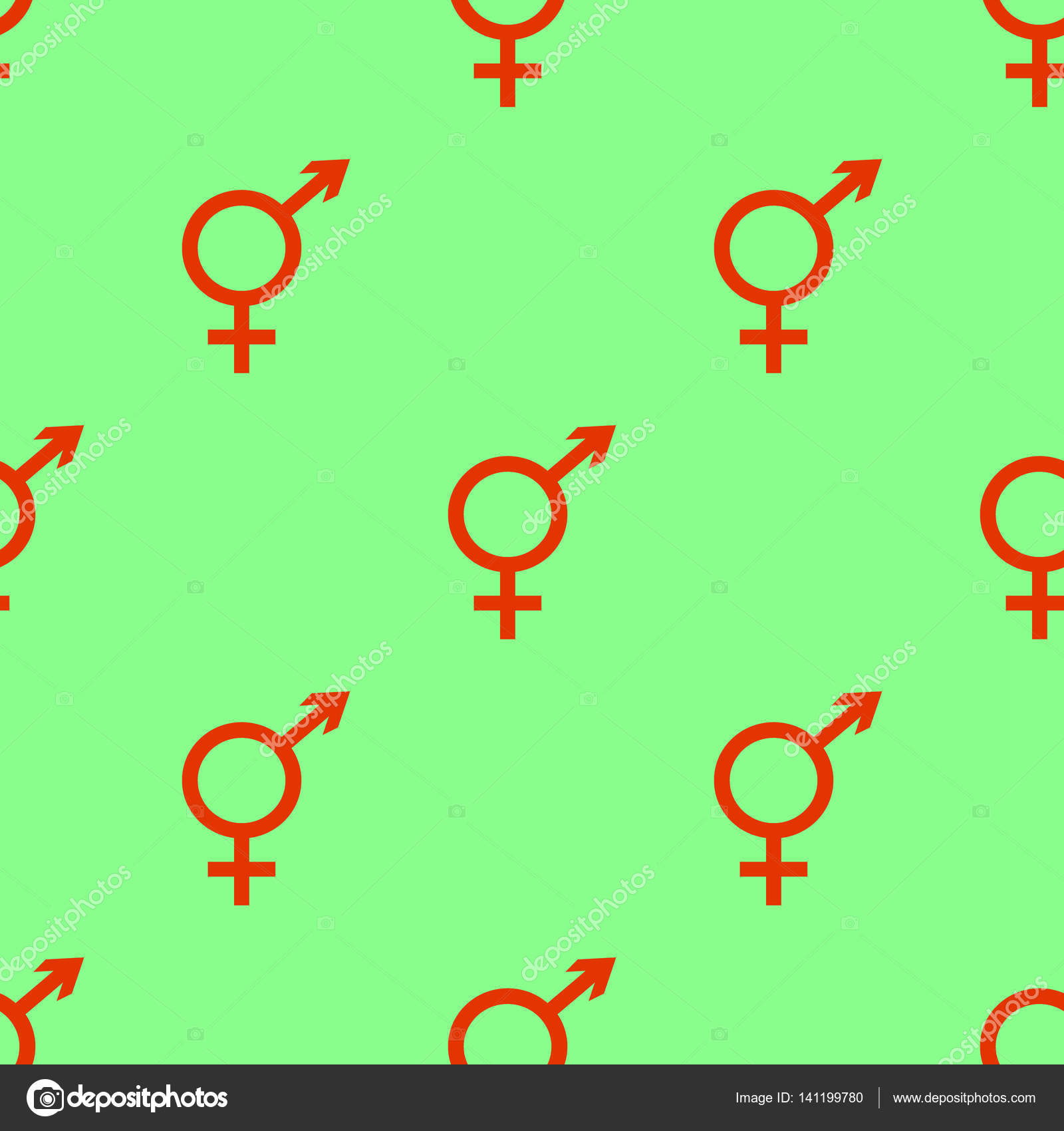 Vector Seamless Pattern Male And Female Symbols On Green Background