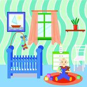Interiér pokoje Baby s chlapcem, hrající hračky. Plochý design. Barevný dětský pokoj s mnoha objektů a hraček