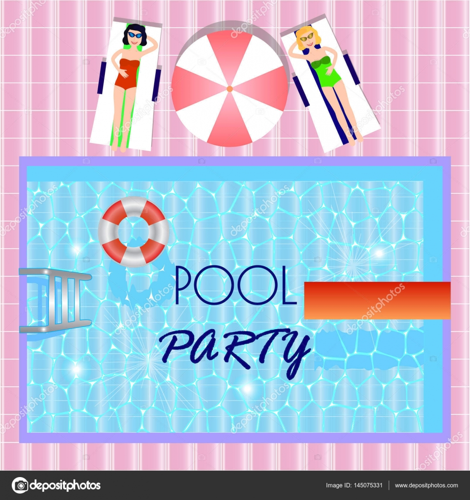Pool party invitation with top view of pool, girls laying in ...