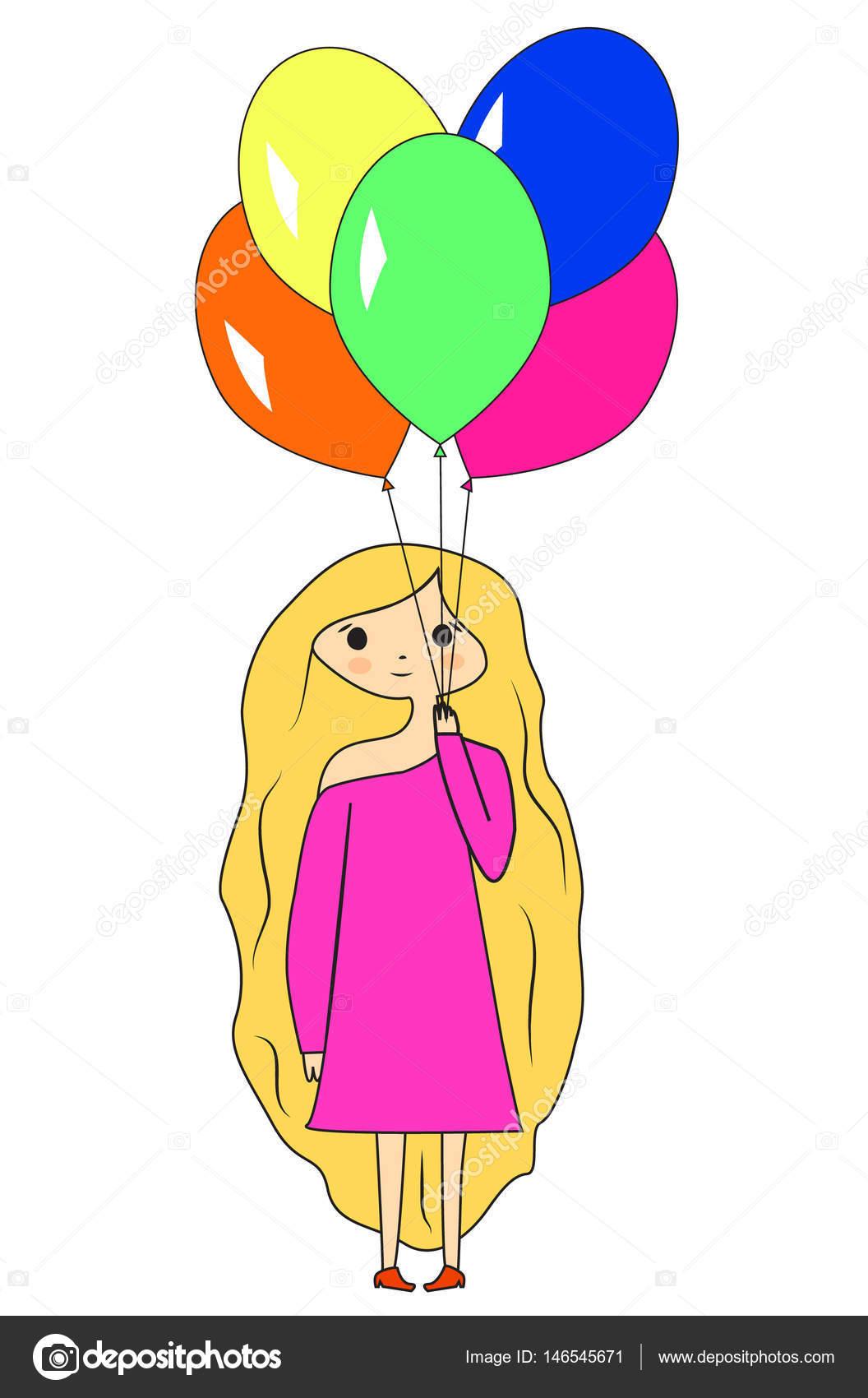 Mignonne Petite Fille Dessin Animé Avec Des Ballons Jeune