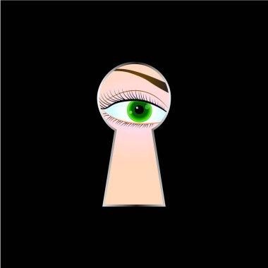 Female eye looking through a keyhole, black background. Vector illustration