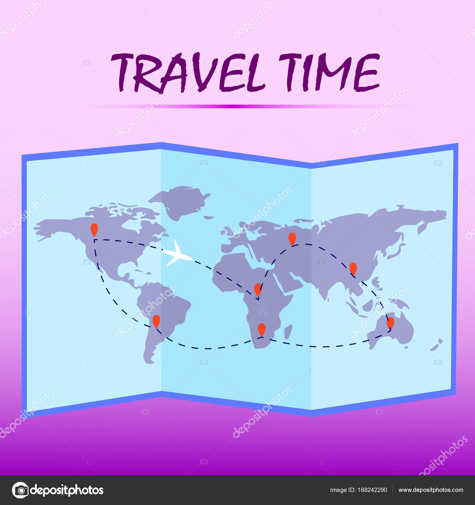 Travel timelded world map with route on pink background vector folded world map with route on pink background vector illustration stock gumiabroncs Image collections
