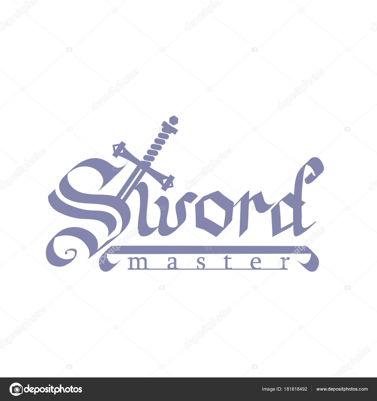 Word Sword Old Script Handle Coming Out Master Stock Vector