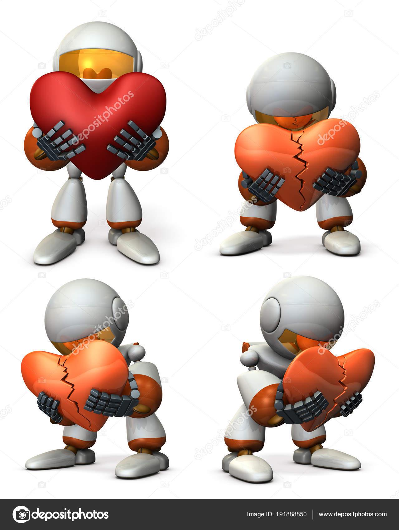 Ein Roboter, gestört. Er liegt mit seinem gebrochenen Herzen ...