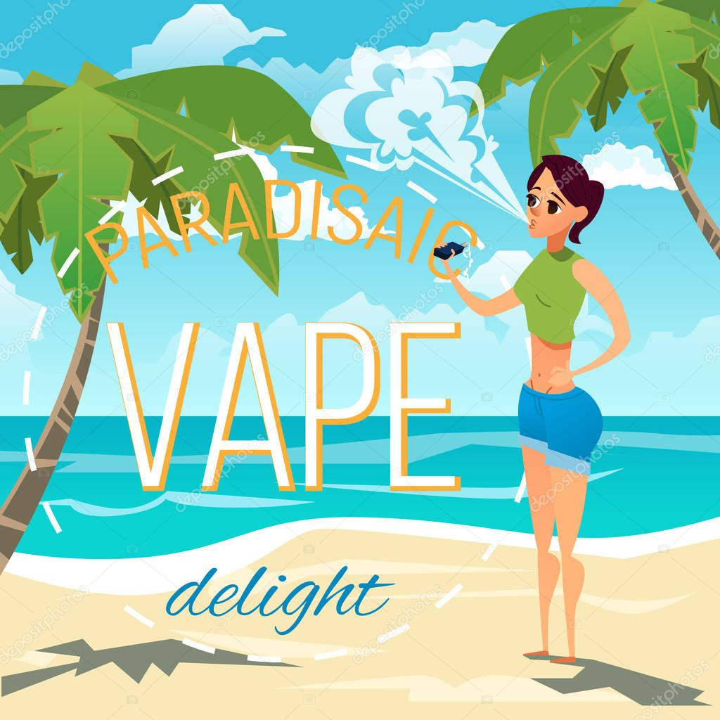 A young woman smokes an electronic cigarette and produces a cloud of smoke. Advertising illustration
