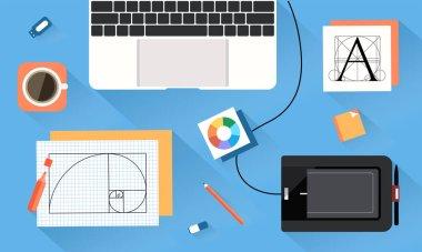 Desktop of designer vector art