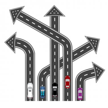 The roads in different directions. Destinations in the form of arrows. Abstract image. illustration