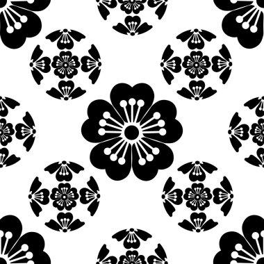 Sakura seamless stylized flower, symbolizes the arrival of spring, the Japanese symbols, black on white background, isolated, illustration