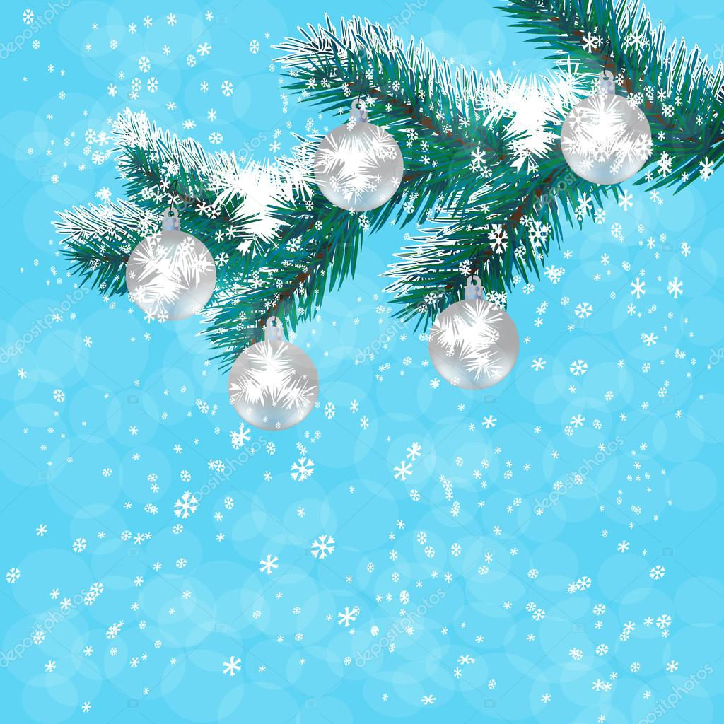 Christmas new year s card silver balls on a branch blue christmas christmas new year s card silver balls on a branch blue christmas tree background of falling snow vector illustration lilystudio voltagebd Choice Image