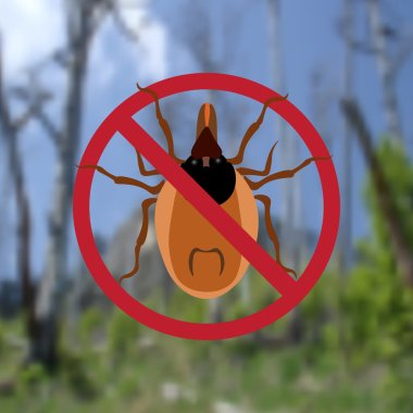 Warning Symbol parasite sign. Spider mites. Red mite. Epidemic. Mite parasites. Background from green forest. illustration