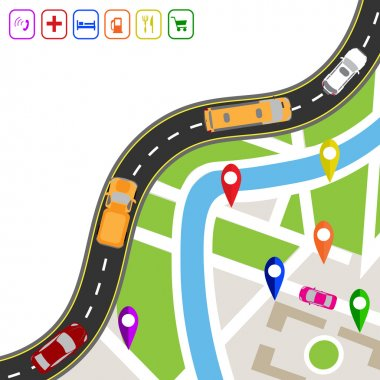 Road infographics. Winding road with markers on the map terrain. The path specifies the navigator. Displaying traffic car illustration