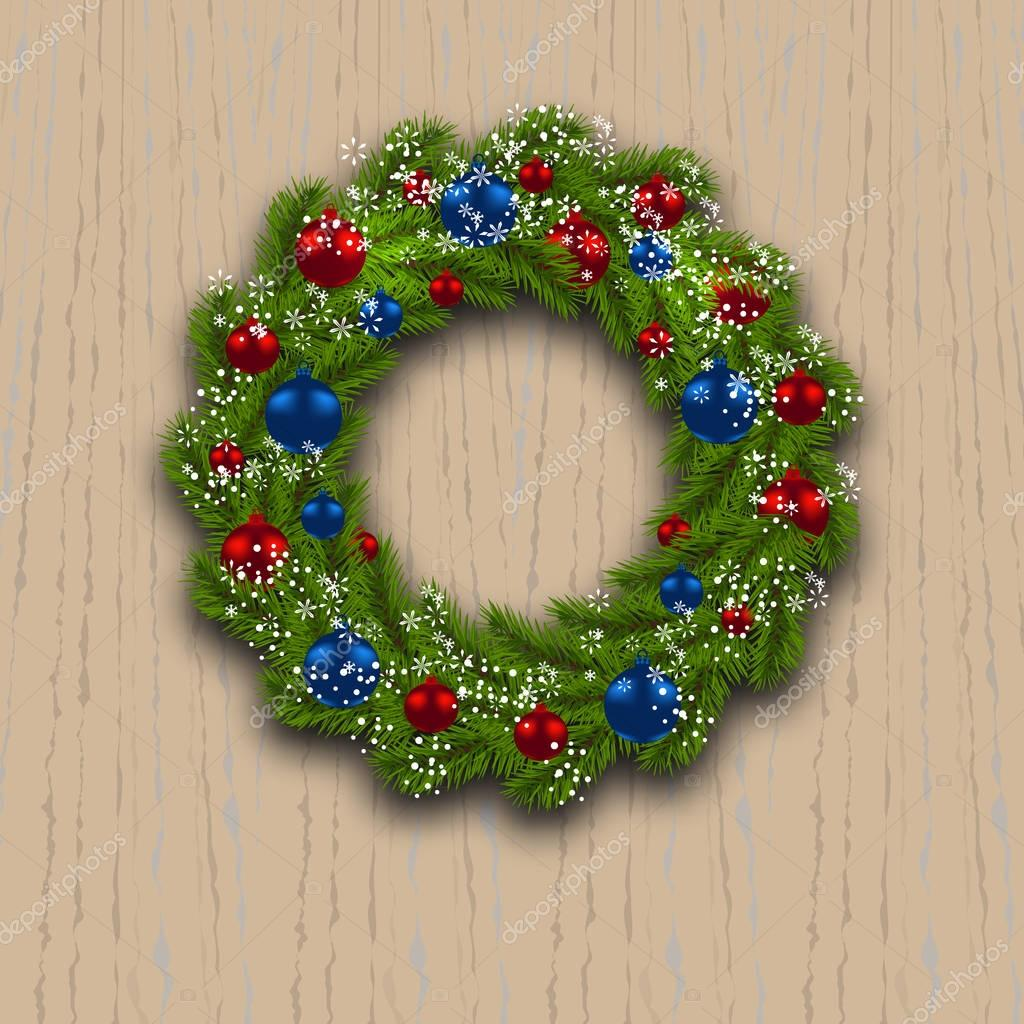 Holz Weihnachtskarten.Adventskranz Grüner Zweig Der Tanne Mit Rot Blau Kugeln Und