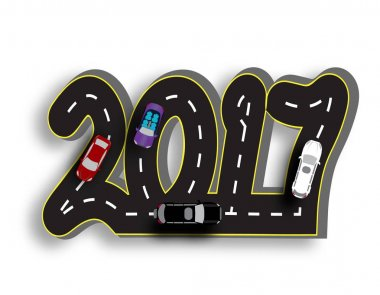 Road with a marking in the form of inscriptions 2017. 3D. Cars . illustration