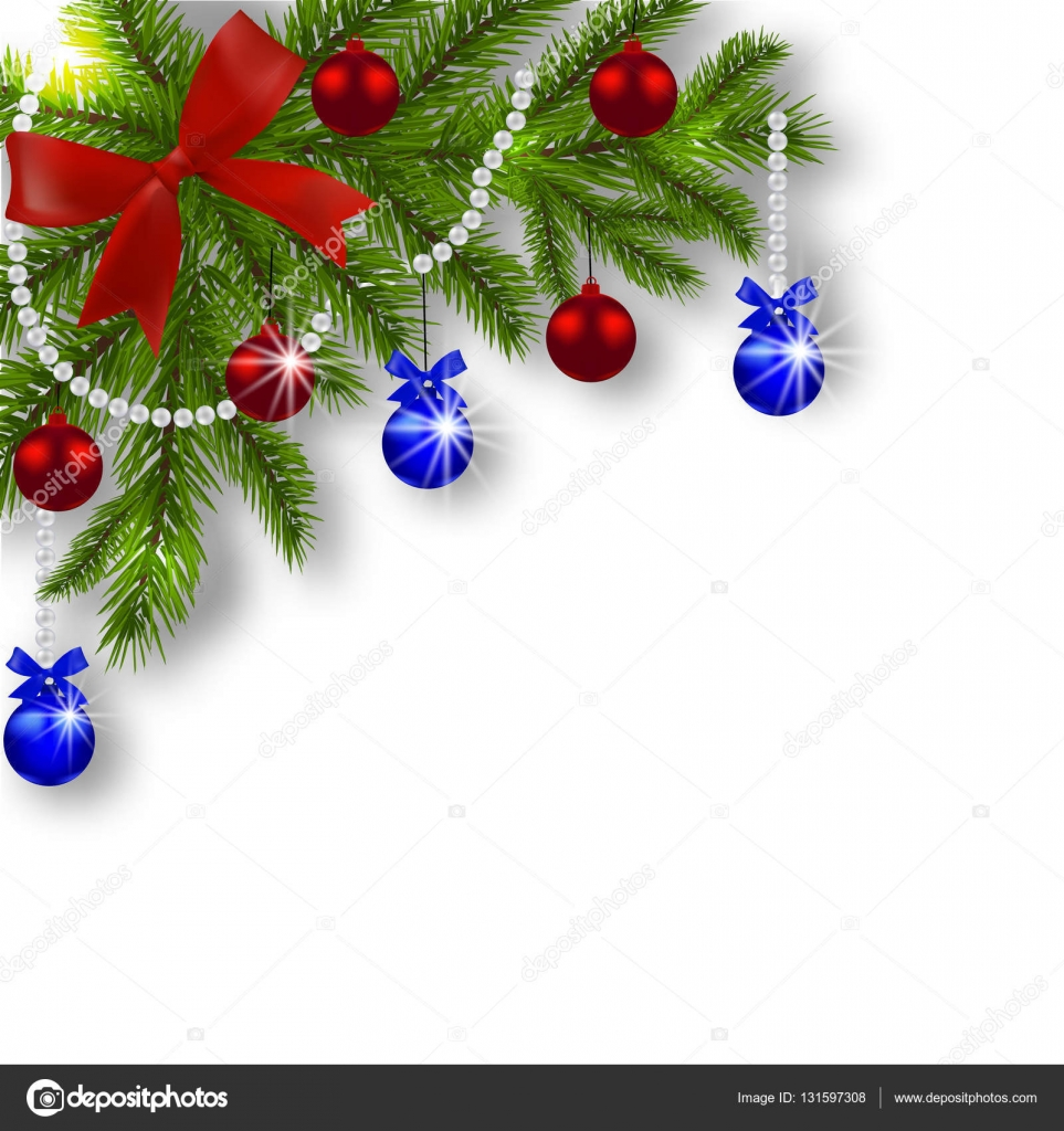 Christmas Card Green Branches Of A Christmas Tree With Blue Red Balls And Ribbon On A White Background Angular Christmas Decorations Illustration Vector Image By C Lily Studio Vector Stock 131597308