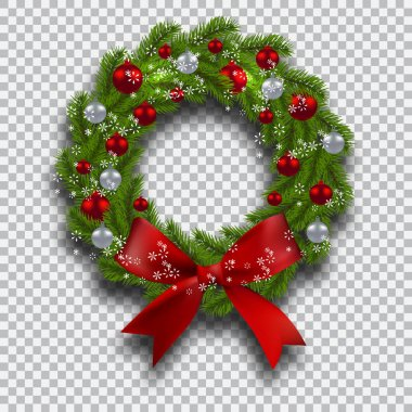Green tree branch in the form of a Christmas wreath with shadow and snowflakes. Red and silver balls checker background. illustration
