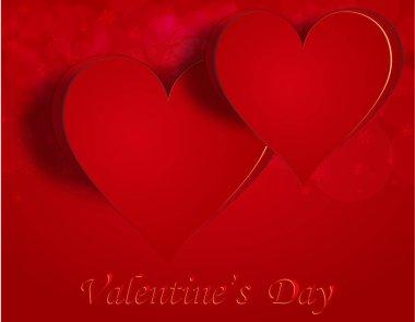 Two enamored hearts on a celebratory background. Greeting inscription Happy Valentine. illustration