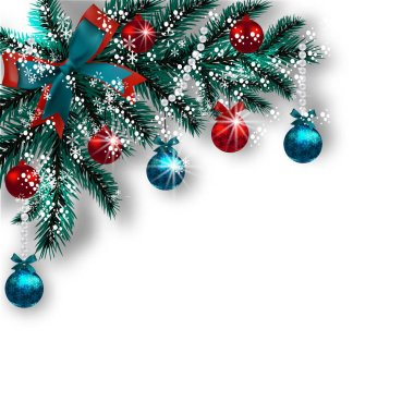 Christmas card. Blue with green tree branches, red balls and ribbons on a white background. Corner with shadow and snowflakes. Christmas decorations. illustration