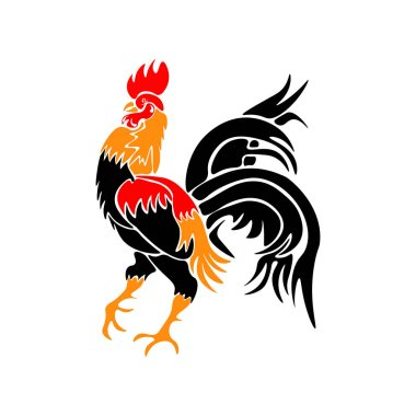 Stylized red rooster isolated on white background. Year fire rooster. illustration