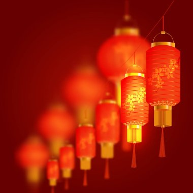 A set of orange-red Chinese lanterns with cherry pattern. Round and cylindrical shape. In a row. illustration