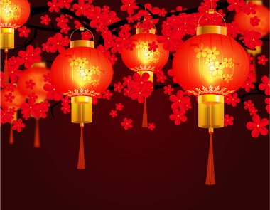 Red Chinese lanterns hung in the park. Round shape with patterns. Against the background of red cherry blossoms. illustration