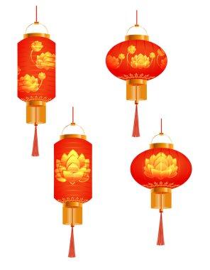 A set of orange Chinese Lanterns. lotus bud. Round and cylindrical shape. Isolated on white background. illustration