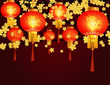 Red Chinese lanterns hung in the park. Round shape with patterns. Against the background of yellow sakura blossoms. illustration