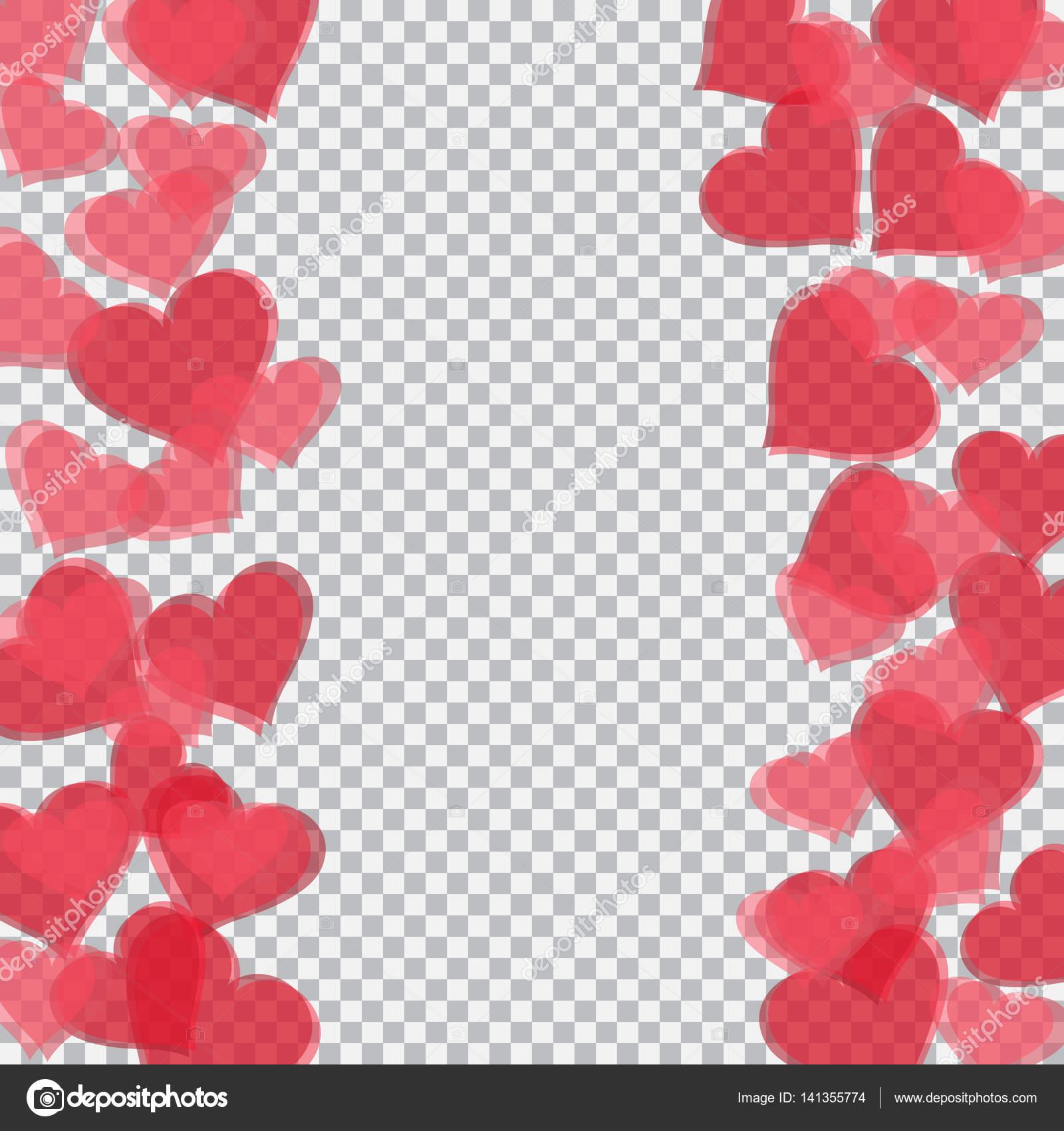 Rot transluzent Herz liegt auf beiden Seiten. Checker-Hintergrund ...