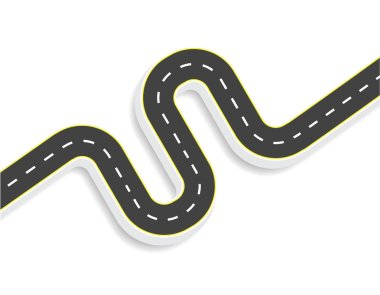 Winding road with markings. View from above. With shadow. illustration