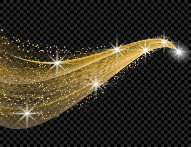 Gold wave with a shine effect on a checkered background. Comet with a luminous tail. illustration