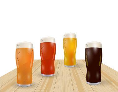 Festival of beer. Different types of beer in glasses. Grilled sausages, hot dog. illustration
