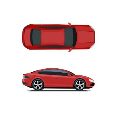 Red car. View from above and from the side. Volumetric drawing without a mesh and a gradient. Isolated on white background. illustration.