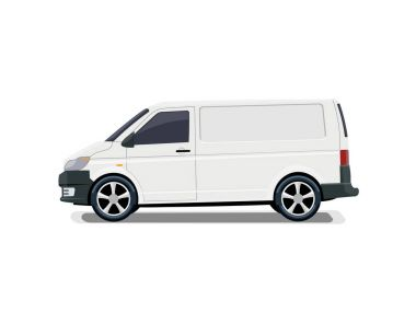 The cargo minivan. Side view. Volumetric drawing without a mesh and a gradient. Isolated. illustration.
