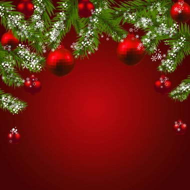 Christmas New Year. Green fir branches with red faceted balls. Christmas card. On a red background. illustration
