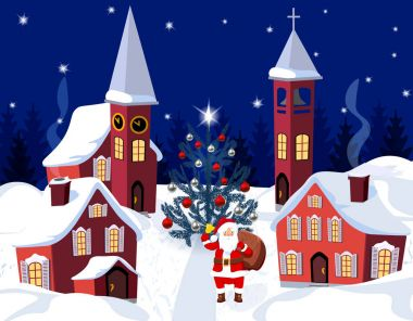 New Year, Christmas. An image of Santa Claus and a dressed up Christmas tree. Winter city on the eve of the New Year. illustration