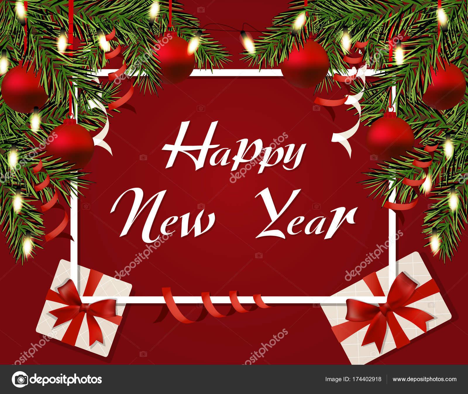 Nouvel An Noel De S Flyer Cartes Visite Postales Et Des Guirlandes Boules Rouges Cadeaux Glacons Branches Vertes Larbre
