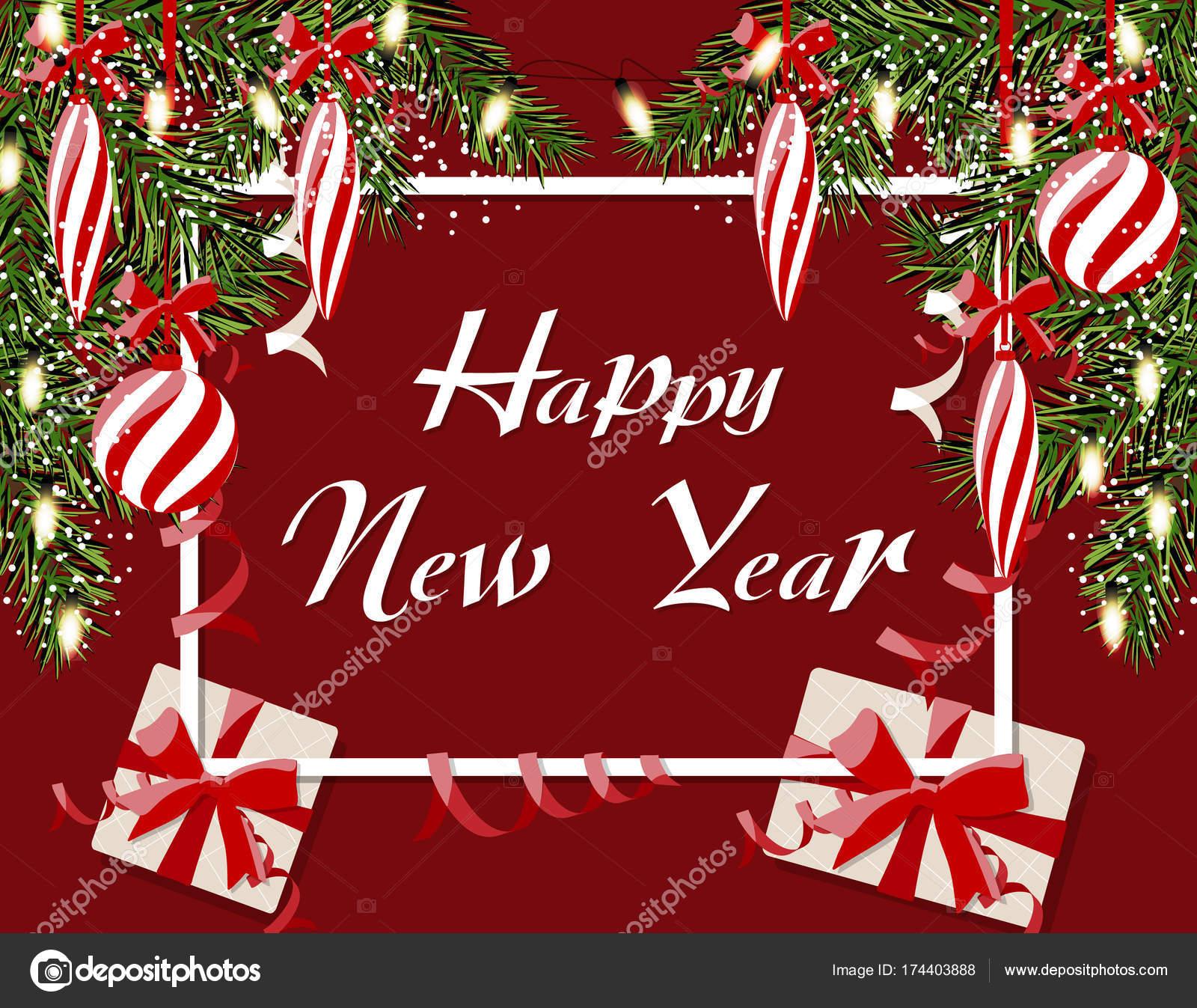 Nouvel An Noel De S Cartes Visite Postales Et Des Guirlandes Inscription Boules Rayees Cadeaux Glacons Branches Vertes Larbre