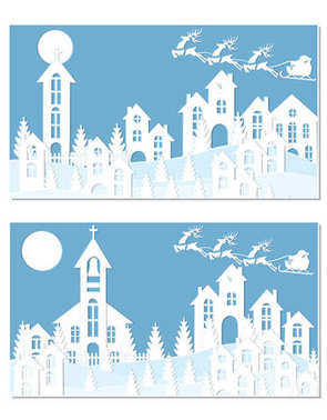 New Year Christmas. An image of Santa Claus and deer. Snow, moon, trees, houses, church. Two landscapes are cut from white paper. illustration