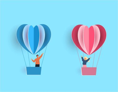 Valentine s Day. A young joyful couple flies in the shape of hearts in balloons. illustration