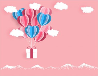 Valentine s Day. The gift is delivered on balloons cut out of paper on a pink background. illustration