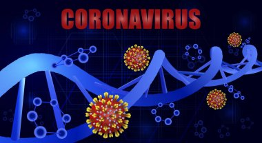 Covid-19 and the DNA helix. Coronavirus causes severe SARS. World Pandemic. illustration