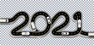 2021 New Year. A road with markings and bridges is stylized as an inscription with a shadow. On a transparent background. illustration