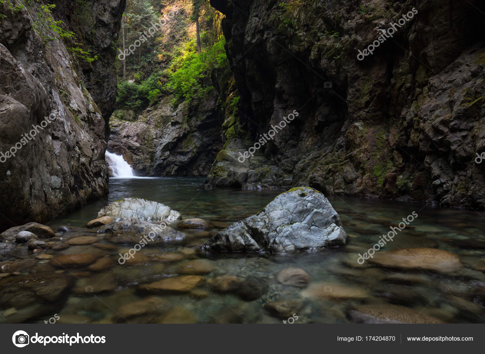 river flowing smooth rocks taken shannon falls squamish british