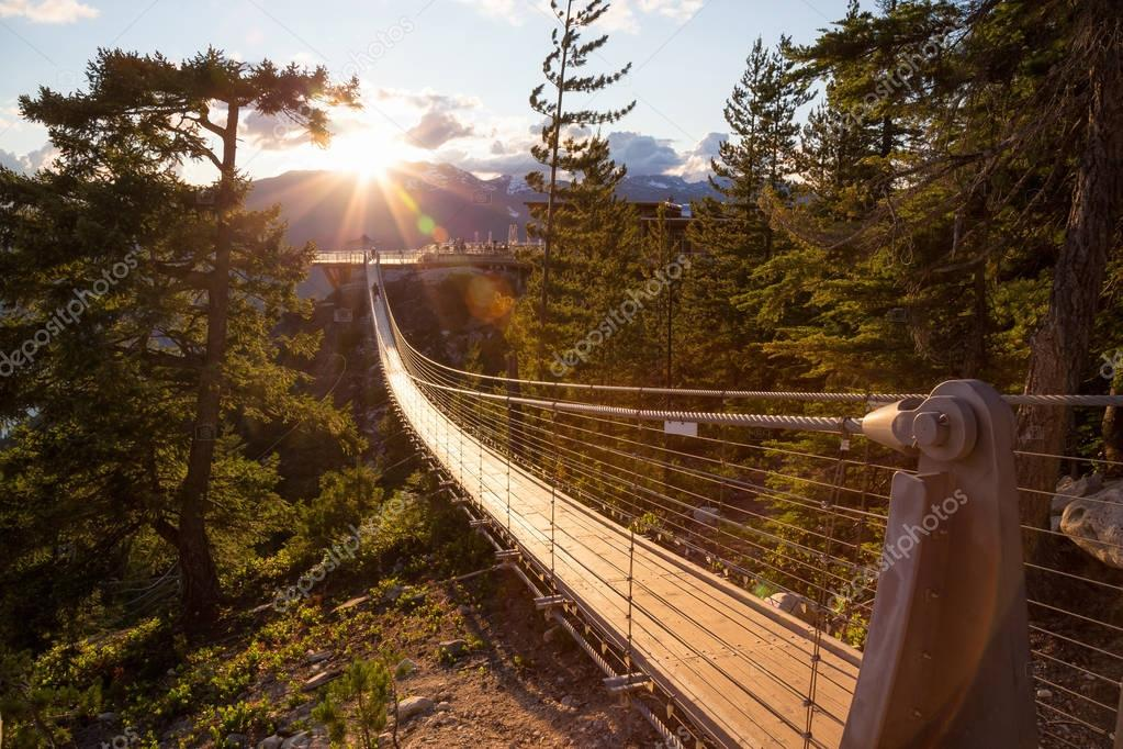 Suspension Bridge on Top of a Mountain in Squamish, North of Vancouver, British Columbia, Canada.