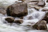 Fiume che scorre intorno alle rocce lisce. Preso a Shannon Falls, Squamish, British Columbia, Canada